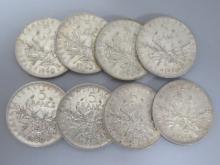Lot de 8 PIECES en argent : 5 francs République, 5 francs de 1960, 2 francs de 1963, 1 francs de 1964.