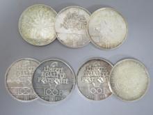 Lot de 7 PIECES en argent : 100 francs République, 2 francs de 1989, 1984, 1986, 1987, 1988 et 1990.