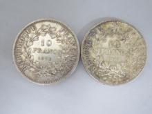 Lot de 2 PIECES en argent : 10 francs République de 1970 et de 1965.