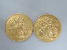 Deux SOUVERAINS Victoria en or datés 1907 et 1914. Poids 15,9g.