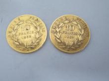 Lot de deux PIECES 10F or  Napoléon III, Tête laurée. 1867 et 1868 BB. Poids 6,36g.