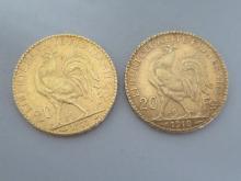 Deux PIECES de 20F Napoléon or 1910 et 1912 Marianne. Poids 12,9g.