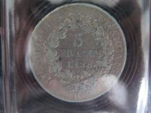 Lot de 2 PIECES : 5 Francs AN 6 A (Union et Force), état TB+ et 5 Francs AN 8K (Union et Force), état B+