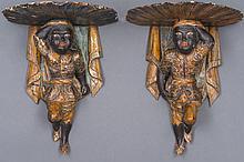 Paire de petites CONSOLES en bois laqué polychrome deux jeunes nubiens.