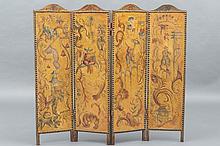 PARAVENT quatre feuilles orné d'huiles sur toiles, à décor