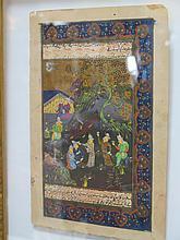 PAGE d'ouvrage illustrée de miniatures Inde Moghole.