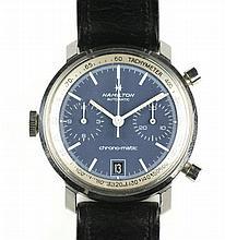 Een stalen heren chronograaf polshorloge voor linkshandigen Hamilton