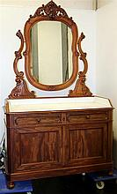 Houten tweedeurskast met twee laden en spiegel, met een marmeren ingelegde plaat.