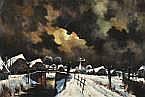Toon Koster (1913-1990) Winters dorp bij nacht