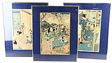 Drie Japanse kleurenhoutsneden op papier.