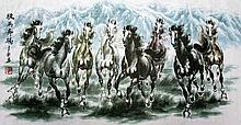 Excellent Chinese Painting of Horses, 20th Century