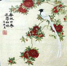 Beautiful Chinese Painting of Birds and Flowers, Signed