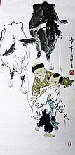 Chinese Painting of Boys, Signed