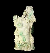 Large Apple Green Jadeite Mountain Carving