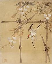 Nice Silk Bird Painting, Early 20th Century