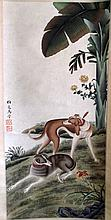Good Chinese Scroll Painting of Dogs
