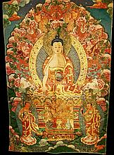 Tibetan Silk Thangka, 20th Century