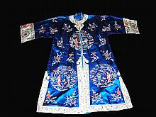 Qing Dynasty Blue Silk Robe