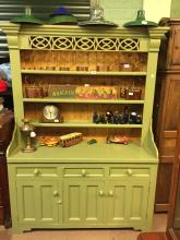 Painted pine dresser the superstructure with three shelves above a bread bo