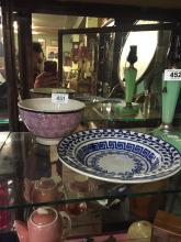 19th. C. spongeware plate and splatter ware bowl.