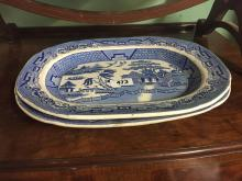 Pair of 19th C. willow pattern joint dishes.