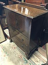 Art deco oak two door side cabinet {72cm H x 42cm W x 76cm D}