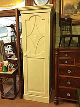 Painted pine single door side cabinet of generous proportions {222cm H x 70
