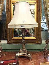 Victorian silver plated lamp in the empire style.