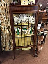Edwardian mahogany display cabinet with single leaded