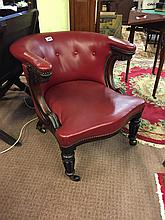 Irish William IV. mahogany leather upholstered library chair Attributed to
