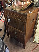 Georgian inlaid mahogany gentleman's wash cabinet with tambour door above t
