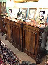 Victorian rosewood break front side cabinet the centre drawer above three p
