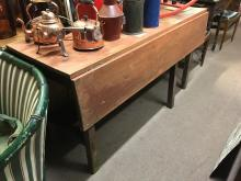 19th C. double drop leaf pine table { 152cm Long x 55cm Deep }.