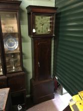 Early 19th. C. oak long cased clock with square painted dial.