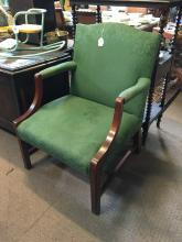 Mahogany open armchair in the Gainsborough style.
