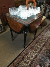 Victorian ebonised walnut drop leaf card table. { 72cm H X 56cm W }.