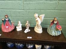 Three 19th. C. ceramic figural groups and a dish with lidded bowl and Royal