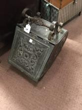 Brass and metal coal bucket.