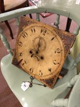 19th. C. painted dial for long cased clock. { 33cm square }.