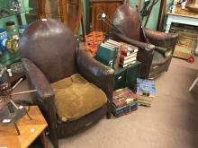 Pair of leather 1930's Art Deco armchairs.