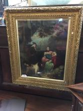 Early 18th. C. Irish oil on canvas Dog and Family mounted in a gilt frame.