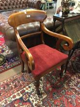 Victorain carved mahogany open armchair.