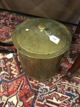 Brass coal bucket.