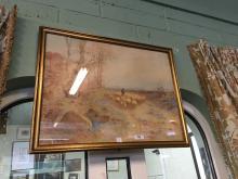 Claude Hayes RURAL SCENE Water colour { 66cm H X 48cm W }. { 1852 - 1922}.