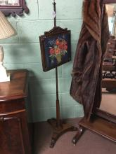 Pair of William IV. Rosewood pole screens with tapestry panels. Strathan