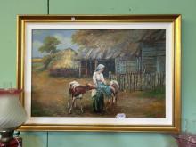 Oil on Canvas FARMYARD SCENE.