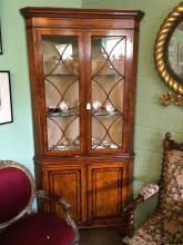 Victorian walnut with string inlay corner cupboard the two astragal glazed