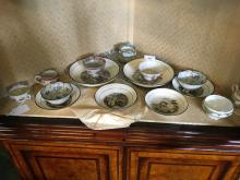 Set of six early 19th. C. plated  transfer patterned with Rural & Village s