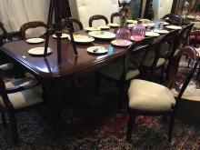 Mahogany dining room table. { 283cm L X 103cm W }.
