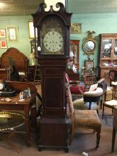 Early 19th. C. Inlaid mahogany long cased clock with painted arched dial.